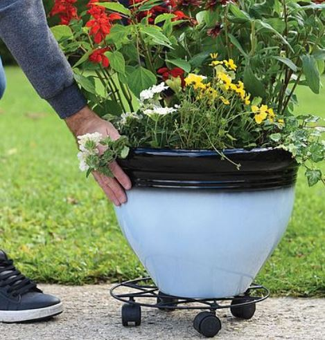 Garden Grow Black Metal Pot Mover on Wheels